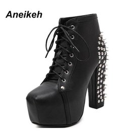 8942a579f65 Aneikeh Women Rock Punk Spikes Remaches Botines Biker Lita Platform Chunky  Block Ultra High Heel Bota Zapatos High Top D- 456-3