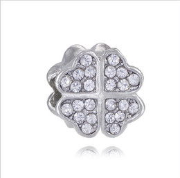$enCountryForm.capitalKeyWord UK - Fits Pandora Bracelets 30pc Four Leaf Clover Crystal Silver Charms Bead Charm Beads For Wholesale Diy European Sterling Necklace Jewelry