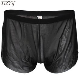 a54010bce YiZYiF Sexy Mens Lingerie Comfortable Mesh See Through Breezy Side Split  House Shorts Boxer Underwear Summer Leisure Trunks
