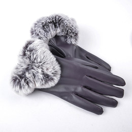 9fe60fe028a35 Winter Gloves Women Rabbit Fur PU Leather Warm Thick Gloves Windproof Ladies  Full Palm Mittens