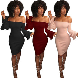 $enCountryForm.capitalKeyWord UK - Speaker sleeve off shoudler sexy womens casual dress long sleeve mini dress for party