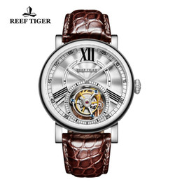 Discount watches tigers - 2018 Reef Tiger RT Brand Luxury Men Watch Tourbllon Automatic Alligator Leather Strap Sports Waterproof Watches zegarek