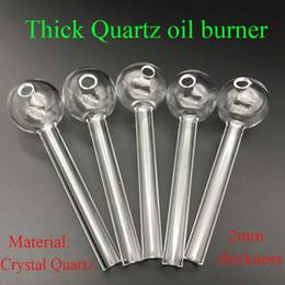 Hand pipes tHick online shopping - New upgrade Handcraft Crystal Quartz Oil Burner Pipe Mini Smoking Hand Pipes mm Thick quartz Oil Pipe VS traditional glass oil burner
