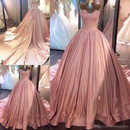 7b32cae9d86 2018 Sweetheart Ball Gown Prom Dresses Appliques Satin Lace up Back Court  Train Formal Evening Dresses Gowns Birthday Quinceanera Dresses