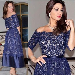 gray lace tea length dresses sleeves NZ - Royal Blue Tea Length Lace Prom Dresses Off Shoulder 1 2 Long Sleeves Evening Gowns Simple Cheap Prom Party Dress