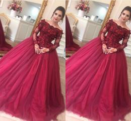 $enCountryForm.capitalKeyWord Australia - Elegant Dark Red Ball Gown Quinceanera Dresses Bateau Neck Long Sleeves Appliques Flowers Tulle Floor Length Plus Size Prom Dresses