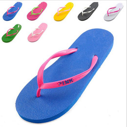 Wholesale Girls love Pink Sandals Candy Colors Pink Letter Slippers Shoes Summer Beach Bathroom Casual Rubber Slides Flip Flop Sandals