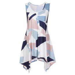 e544f99da090 Summer Tank Tops For Women 2018 Streetwear Button Geometric Print O Neck  Sleeveless Casual Top Tunic T Shirt Clothes Women
