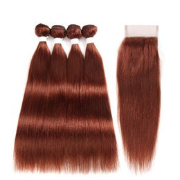 Discount human hair bundles closure deal - Straight #33 Dark Auburn Virgin Indian Human Hair 4 Bundle Deals with Lace Closure 4x4 #33 Copper Red Virgin Hair Weaves
