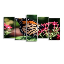 definition painting Canada - 5 pieces high-definition print butterfly canvas painting poster and wall art living room picture B-084