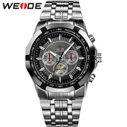 blue water sports 2019 - WEIDE Chronograph Quartz Men Watch Luxury Brand Stainless Steel Business Wrist Watches Male Clock Relogio Masculino Wris