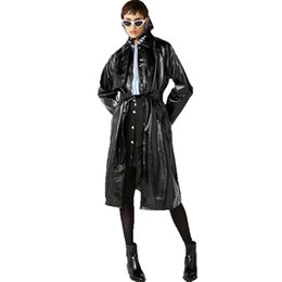 trench coat fashion UK - Euramerican Fashion Sexy Comfortable New style Delicate Bind Classic waistband knotted split leather trench coat