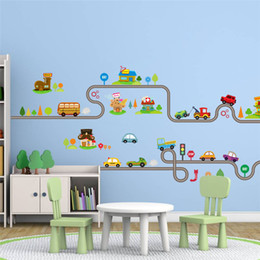 3d Cars Wall Sticker NZ - Cartoon Car Bus Highway Track Wall Stickers For Kids Rooms Children's Bedroom Living Room Decor Wall Art Decals Boy's Gift
