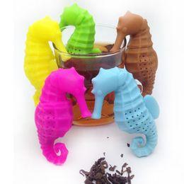 Discount bags silicon - Silicon Deep Sea Horse Shape Tea Infuser Multicolor Tea Strainer Loose Flower Herbal Set Creative Hippocampus Tea Bag