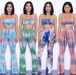Wholesale pearl pants sexy resale online - HTS102 Sets design Bell Bottom Trousers Bra Sets Women Loose Pants Camis Sexy Palazzo Wide Leg Pants Vest Long Stretch Boho Hippie Pants