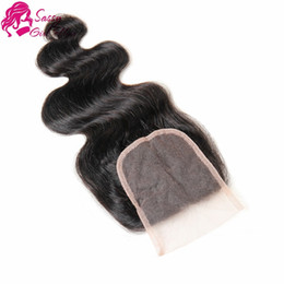 Hair Waves Online Australia - Indian Body Wave Closure Indian Virgin Remy Hair Weaves Body Wave Grade 8a Cheap Hair Online Natural Color SASSY GIRL