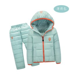 Chinese  Loss Promotion Winter Boys girls Clothing sets Down Jacket + Trousers Waterproof Snow Warm kids Clothes suit 6 color 1-7year manufacturers