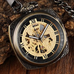 $enCountryForm.capitalKeyWord Australia - 1 Pcs Relogio Masculino Retro Vintage Square Dial Hollow Skeleton Men's Fob Chain Mechanical Pocket Watch For Brithday Xmas Gift