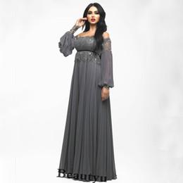 143af9dd82fdb Saudi Arabia Dubai Prom Dresses 2018 Elegant Gray Chiffon Lace Arabic Kaftan  Cheap Plus Size A Line Long Sleeves Formal Party Evening Gowns