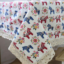 $enCountryForm.capitalKeyWord NZ - Linen Table Cloth with Lace Horse Print Country Style Rectangular Dinning Tablecloths Cover Kitchen Toalha de Mesa ZB-10