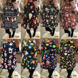 ce04ab8b65f Autumn Winter Christmas Dress Women Plus Size Print Dress Midi Elk  Snowflake snowman Long Sleeve A-Line Party Dress female