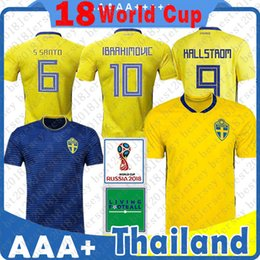 1f2b9f1ce Men Sweden soccer Jersey Home AWAY IBRAHIMOVIC KALLSTROM LARSSON SVENSSON  BERG LARSSON Football shirt size S-XL 2018 world Cup