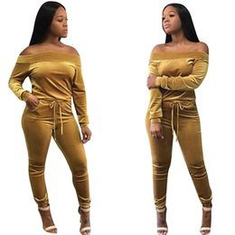 $enCountryForm.capitalKeyWord NZ - Velvet Sporting Suit Women Casual Tracksuit Sexy Off Shoulder Two Piece Set 2018 Spring Long Sleeve Women Sportswear INS Trendy Outfits