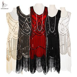Chinese  Women Party Dress 1920 s Great Gatsby Flapper Vestidos Sequin Bead Fringe Dress Evening V Neck Embellished Fringed Sleeveless manufacturers