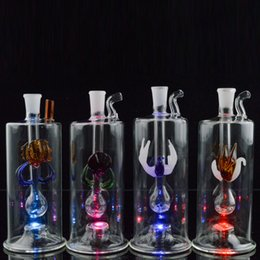 """Discount hose bong - 5""""inch Mini Dab Rig LED Bong Water Pipes Oil Rigs Durable Glass Hookahs Bong with Hose Pot Bowl Bubbler Thickness w"""