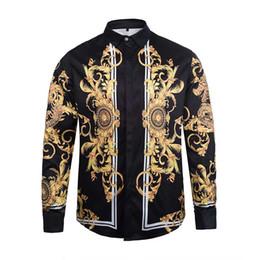 Fitted Silk Shirt Mens Canada - 100% Silk Medusa shirts court Gold Dragon floral Paisley Print Business Shirts Mens Slim Fit t shirts blouses arc Hems Baroque Overshirts