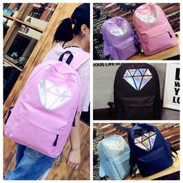 simple prints 2019 - 5styles Women Laser Diamond Printed Canvas backpack Holographic Shoulder Zipper School Bag travel outdoor simple school