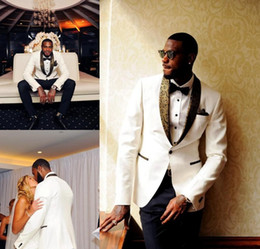Gold Ivory Tuxedos For Groom NZ - 2018 Handsome White Wedding Tuxedos Slim Fit Gold Pattern Laple Suits For Men Cheap One Button Groom Suit Only The Jacket And Handkerchief