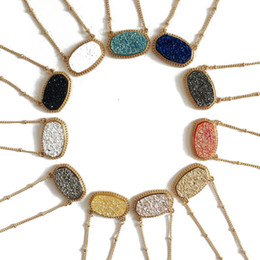 China Fashion druzy drusy necklace earrings kendra silver gold plated faux natural stone scott necklaces earrings for women brand jewelry suppliers