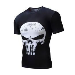 Discount men full print t shirt - Men Compression Running T shirts Men 3D Printed Punk Skull Gym Fitness BodyBuilding Sports Tights Male Tops Running T-sh