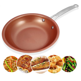 Copper Coatings Australia - 1pc Durable Nonstick Copper Frying Pan Skillet With Ceramic Coating Induction Gas Cooker Oven Dishwasher Pan Skillet Cookware
