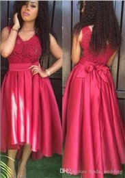 High Low Wedding Dress Under Color NZ - 2017 Cheap Red High Low Bridesmaid Dress V Neck Garden Country Formal Wedding Party Guest Maid of Honor Gown Plus Size Custom Made