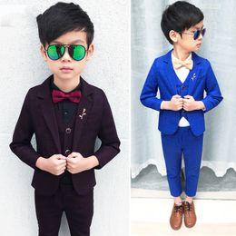 1ee5bbf5b New Arrival Child Suits Slim Plaid Fashion Baby Blazer suit Jacket pant  vest shirt 4parts Kids Costume Wedding Flower Boy Dress
