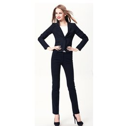 Blue Professional Suits NZ - New fashion ladies slim suit two-piece suit (jacket + pants) ladies business office professional wear support customization