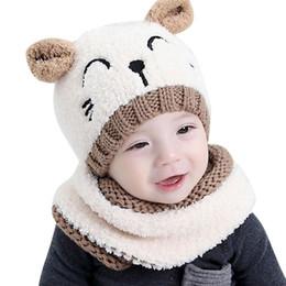 452664acd687e Baby Boy Girls Warm Knit Bear Hat and Scarf Set Toddler Winter Crochet  Beanie Cap 2pcs Set