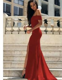 IllusIon led online shopping - 2018 Summer New Pattern Sexy Deep V Lead High Slit Off The Should Evening Dress Wine Red Vintage Chapel Train Long Dress