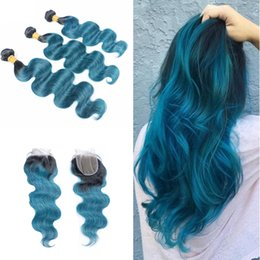 dark blue human hair weave 2019 - Dark Roots 1B Blue Body Wave 3 Bundles With Cloure 4x4 Ombre Colored Blue Human Hair Weaves With Top Lace Closure discou
