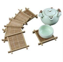 Kitchen Place Mats Australia - Bamboo Tea Cup Mat Square Coaster set Handmade Place mat For Kungfu Tea Set Kitchen Accessories Drink Tea Tools c503