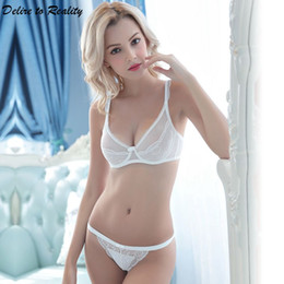 b771ddc8d7a Women Sexy Lace Bra Brief Sets Ultrathin transparent Push Up Brassiere  Underwire Bralette Plus Size Underwear For Ladies 5019