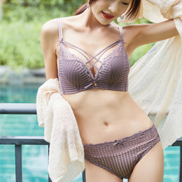 1d28f762b3 fashion lingerie sexy hollow out thin cup women bra and panty seamless grid  underwear sets one-piece bow young girls bra sets