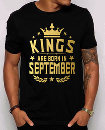 boy custom shirts 2019 - Kings Are Born In September Men's T-Shirt.Gold Print.Best Birthday Gift Shirt Tee Shirt Men Boy Cool Short Sleeve C