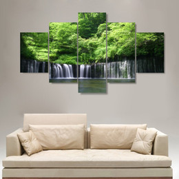 waterfalls paintings hd NZ - Home Decor Canvas Wall Art Poster Modern 5 Panel Tree Waterfall Landscape Living Room HD Print Painting Pictures Modular Frame