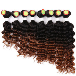 human hair weave packs 2019 - Sew in Hair Extensions 90% Human Hair Weave Bundles Deep Wave Ombre T1B 30 Color 8pcs 1 pack full for a head 8-14inc che