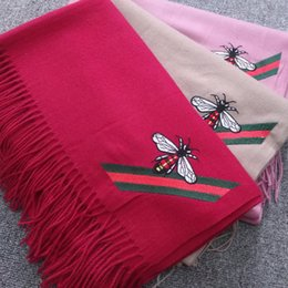 Bee Scarves Australia - New fashion autumn winter warm and luxury stylist designer scarf for woman imitation cashmere embroidery bee scarves shawls free shipping