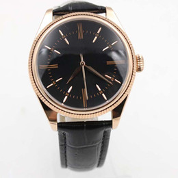 China Rose Gold Case Elegant Mens Watches Simple And Clear Dial Automatic Men Watch Wristwatch Leather Strap Roman Number Markers cheap marker cases suppliers