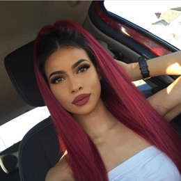 two tone straight full lace wigs NZ - Ombre Human Hair Lace Front Wigs T1b 99j Two Tone Full Lace Wigs With Baby Hair Peruvian Virgin Hair Straight Dark Root Burgundy